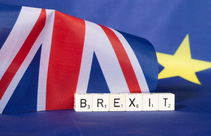 United Kingdom and European Union flags with Brexit text
